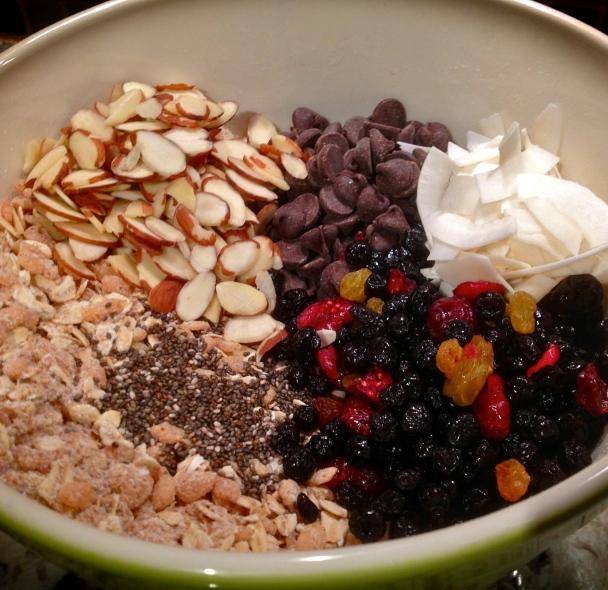 Ingredients for Vegan Chocolate Cranberry Granola Bars