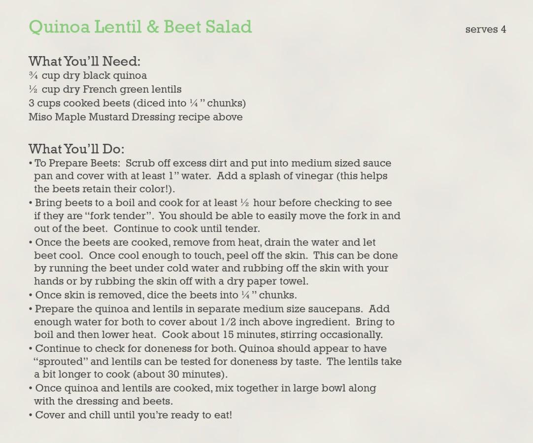 quinoa lentil beet salad