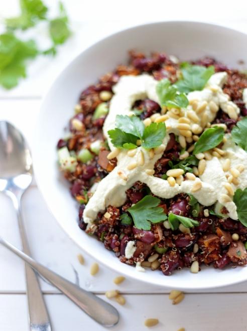 Quinoa and Sweet Potato Salad with Roasted Garlic Dressing