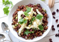 Quinoa and Sweet Potato Salad with Roasted Garlic Dressing