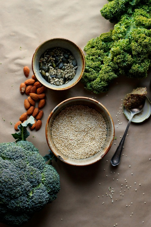 warm kale, quinoa, broccoli salad
