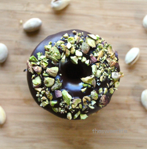 double chocolate pistachio donuts